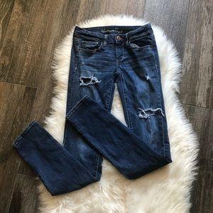 AE Distressed Super Skinny Stretch Jeans Size 2